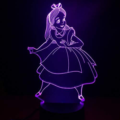 Lampe Illusion, Acrylique 3D Disney Princesse Alice Ambient Light, Dégradé De Led, Veilleuse 7 Couleurs