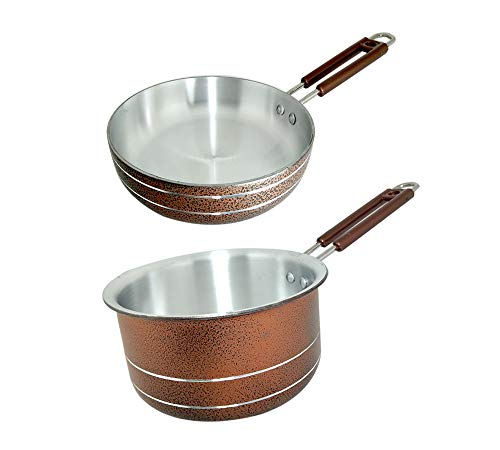 Bartan Hub Saucepan and Frying Pan Set (Saucepan 1000 ml, Frying Pan 20 cm)