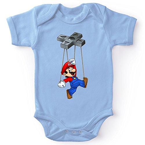 Body bébé Manches Courtes Garçon Bleu Parodie Super Mario - Mario - Mario-Nette on(Body bébé de qualité supérieure de Taille 6 Mois - imprimé en France)
