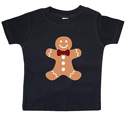inktastic Cute Gingerbread Man with Red Plaid Baby T-Shirt 12 Months Black 3d005