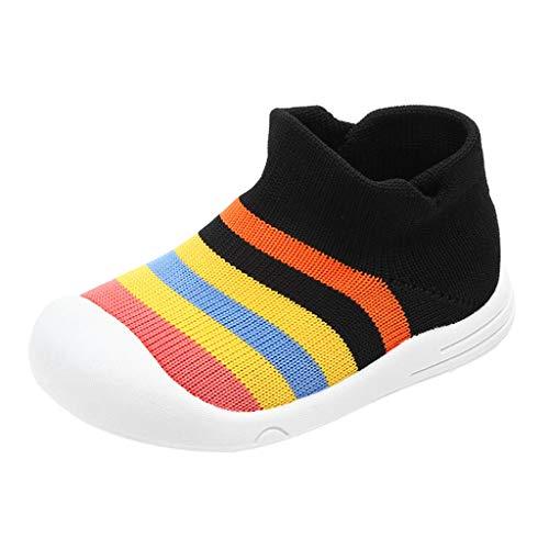 Deloito Sneaker Kleinkind Turnschuhe Säugling Kinder Babyschuhe Mädchen Jungen Bunter Regenbogen Krabbelschuhe Mesh Socken Weiche Sportschuhe (Schwarz,20.5 EU)