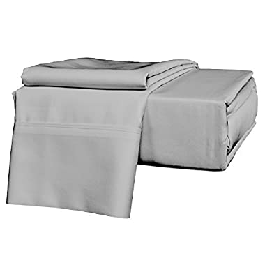 KING SIZE SHEETS LUXURY SOFT 100% EGYPTIAN COTTON - Sheet Set for King Mattress Silver Gray SOLID 600 Thread Count Deep Pocket