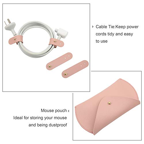 TECOOL 15 Zoll Laptop Hülle Bundle 5 in 1, Schutzhülle Notebooktasche Wasserdicht für 2013-2019 MacBook Pro 15 Zoll, MacBook Pro 16 A2141 mit Zubehörtasche, PU Leder Schreibtisch Pad - Rosa