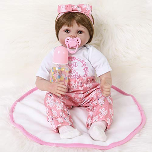 ENA Reborn Baby Doll Realistic Silicone Vinyl Baby 24 inch Weighted Soft Body Lifelike Doll Gift Set for Ages 3+(Butterfly Hair Band)
