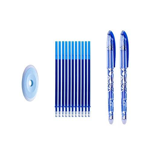 Juego de 13 recambios de bolígrafo borrable por fricción con punta fina de 0,35 mm, mango lavable, bolígrafo mágico borrable para papelería de oficina escolar