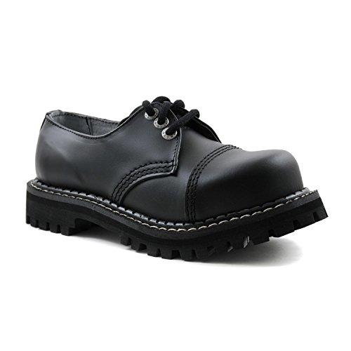 ANGRY ITCH - 3-Loch Gothic Punk Army Ranger Armee Schwarze Leder Schuhe mit Stahlkappe 36-48 - Made in EU!, EU-Größe:EU-44