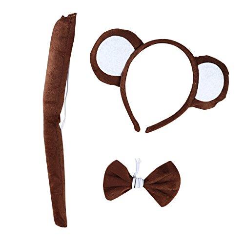 LUOEM Tier Cosplay Stirnband Schwanz Bogen Kostüm Set Monkey Ohren Stirnbänder Haarband für Cosplay Halloween Kostüm Party, 3 Pack