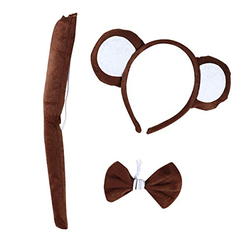 LUOEM Tier Cosplay Stirnband Schwanz Bogen Kostüm Set Monkey Ohren Stirnbänder Haarband für Cosplay Halloween Kostüm Party, 3 Pack