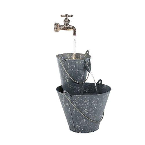 Pureday Gartenbrunnen Zinkeimer - Brunnen mit LED Beleuchtung - Metall - Grau - Höhe ca. 65 cm