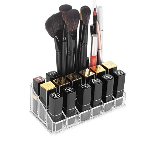 Lipstick Organizers and Storage,18 Slots Acrylic Lipstick Holder & Cosmetics Storage Display Case,Keep Lipsticks,Lip Gloss,Makeup Brushes in Order