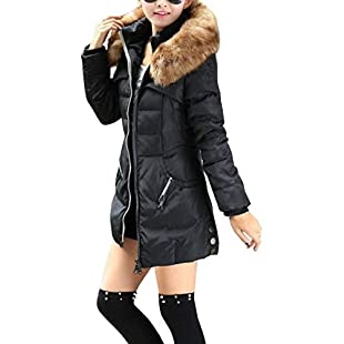 Pureed Women's Winter Coat Slim Fit Long Sleeve with Faux Fur Hood Outerwear Fashion Elegant Thicken Warm Parka Transition Jacket (Color  Schwarz, Size  2XL):Donald-trump