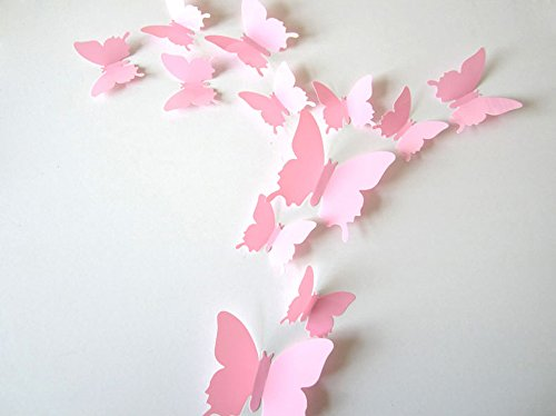 ufengke® 12 Pcs Mariposas 3D Pegatinas de Pared Diseño de Moda Mariposa Bricolaje Calcomanías Arte Artesanía Decoración del Hogar, Rosa