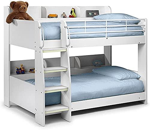 Telaio letto a castello, letto singolo in legno massello di pino può essere suddiviso in 2 letti singoli per i bambini da utilizzare,White