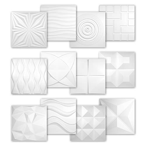 3D Platten Kunststoff | PVC Paneele | Wand- und Deckenverkleidung | Schlag- Stoss- und Wasserfest | Dekorplatten | 3 Dimensional | 50x50cm | HD125