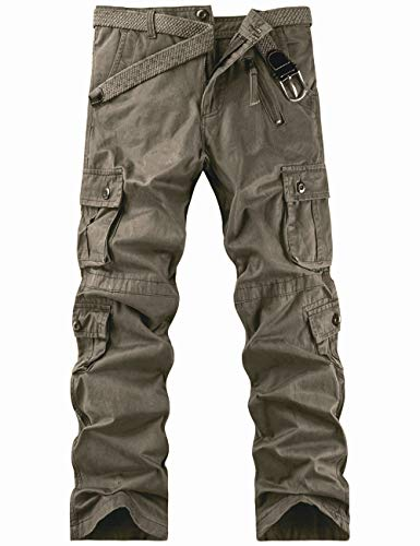 Pantalon Cargo Homme de Travail Randonnée Sport Militaire - Vert Foncé - Taille FR 46(Taille fabricant 36)