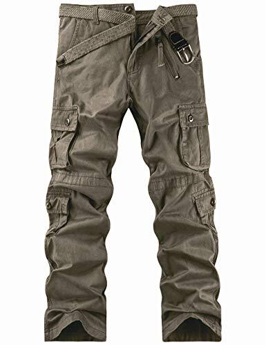 Pinkpum Arbeitshosen Männer Military Cargohose Jogger Pants Wanderhose Tactical Hose Combat Outdoor-Hose Trekkinghose Dunkelgrün 34W