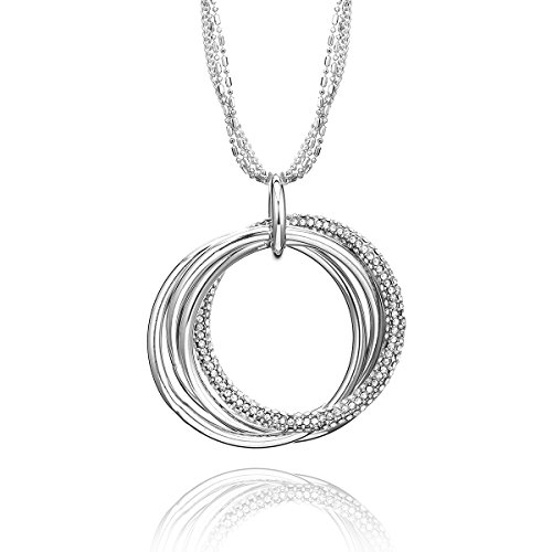 Collar para mujer, anillos entrelazados, collar con colgante de cadena larga de cristal para niñas, collar con circonitas cúbicas brillantes y diamantes de imitación.