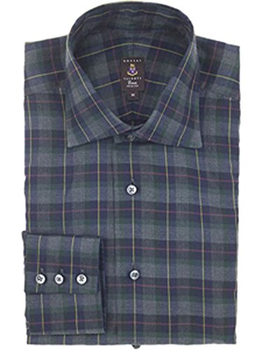 Robert Talbott Grey Tartan Windowpane Plaid Check Trim Fit Estate Sutter Dress Shirt L