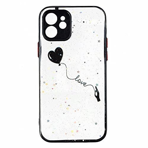 TYWZ Hülle Transparent Glitzer für iPhone 12 Mini,Handyhülle Slim Case PC Schale Hardcase Leicht Dünn Schutzhülle Glänzendes Cover-Schwarz Herz