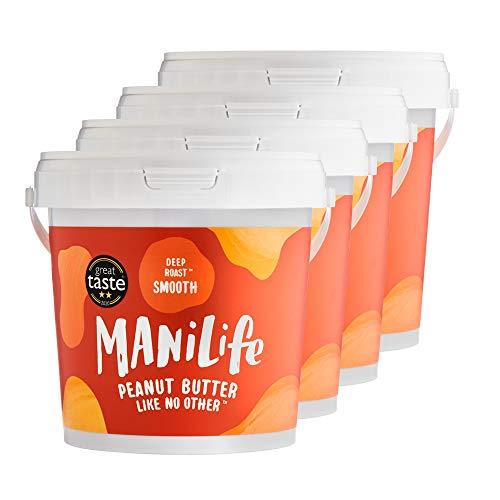ManiLife Erdnussbutter 4kg - Peanut Butter - Alles Natürlich, ein Anbaugebiet, ohne Zuckerzusatz, ohne Palmöl – Deep Roast Smooth – (4 x 1kg)