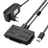 Convertidor AGPtek USB 3.0 a IDE/SATA, Adaptador de Disco Duro con Interruptor de Corriente para Discos Duros SATA/IDE/SSD 2.5'/3.5', Soporta 4TB, Incluye Adaptador de Corriente de 12V y Cable USB 3.0