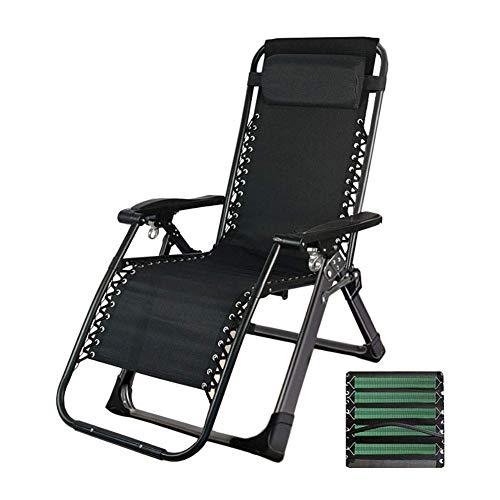 MWPO Zero Gravity Chairs Black Folding Zero Gravity Reclining Chairs, Heavy Duty Beach Sun Loungers, for Outdoor Patio Garden Courtyard, Support 330lbs