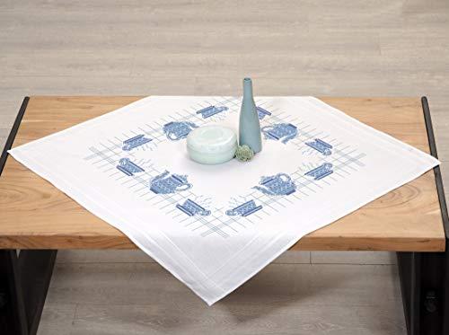 Kamaca Kamaca - Kit de punto de cruz para mantel (80 x 80 cm, algodón), diseño de café