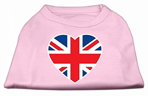 Mirage Britse vlag hart scherm afdrukken hond shirt, Medium, Lichtroze