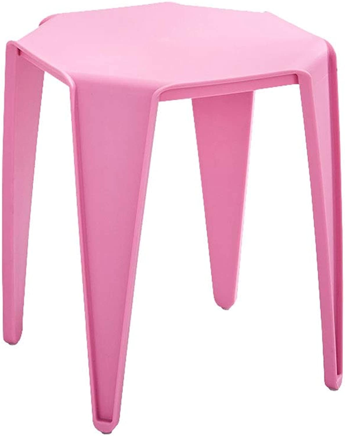 A+ Plastic Round Dining Table Stool,Hair Salon Bar Chair One-Piece Molding, Home Simple Four Foot Stool,No Need to Install - 2-Piece Set (color   Pink)