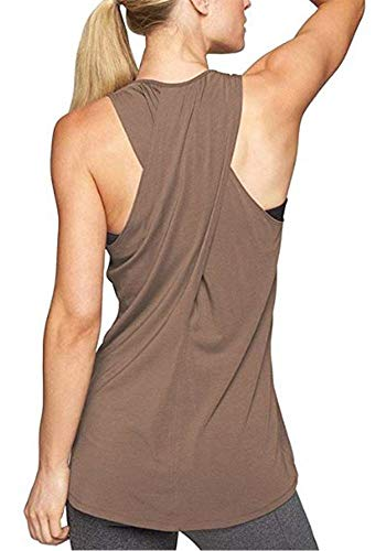 Lofbaz Frauen Cross Back Yoga Shirt Aktivbekleidung Trainings Racerback Tank Top - Kaffee - S