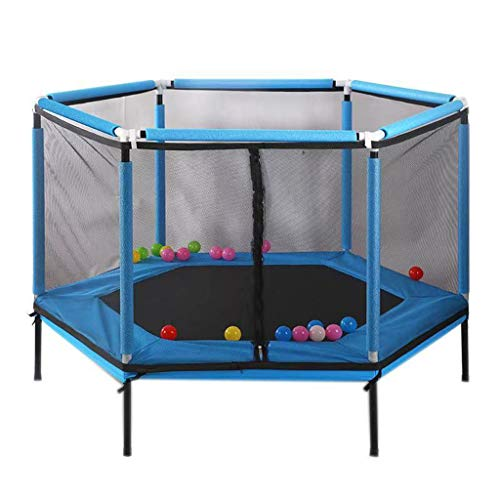 LINZI Indoor Trampoline For Kids My First Trampoline With Protective Net Household Mini Trampolines For Kids (1.5m in diameter) (Color : Blue)