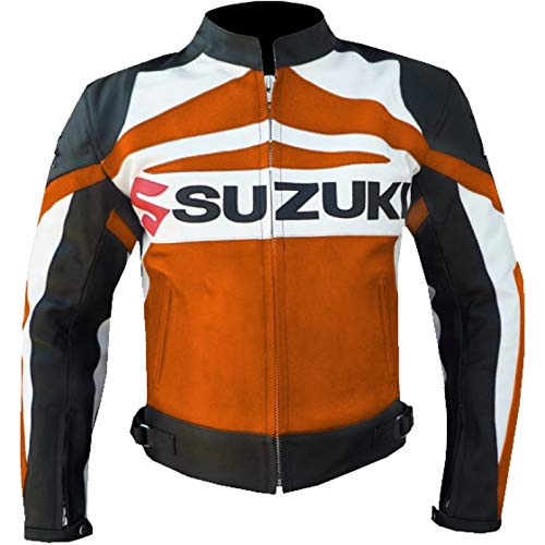 Suzuki GSX Motorradjacke aus Rindsleder, Orange Gr. XXL, Orange