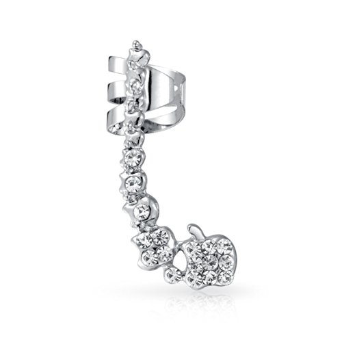 Pave Encrusted Cartilage Right Ear Cuff Wrap Clip Graduated Crystal Climber Crawler Lobe Helix Earring Stainless Steel
