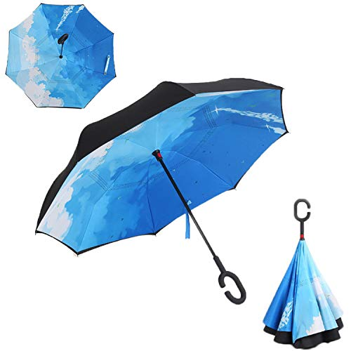 Windproof Reverse Folding Double Layer Inverted Chuva Umbrella Self Stand Inside Out Rain Protection C-Hook Hands For Car,Navy Blue