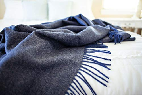 Maloca Baby Alpaca Throw Blanket Baby Alpaca Wool Herringbone - Ethically Sourced, The for Any Age or Occasion. Limited Production (Navy Blue)