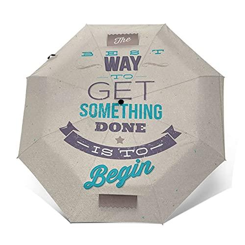 Regenschirm Taschenschirm Kompakter Falt-Regenschirm, Winddichter, Auf-Zu-Automatik, Verstärktes Dach, Ergonomischer Griff, Schirm-Tasche, Frame Words Weisheit über Führung