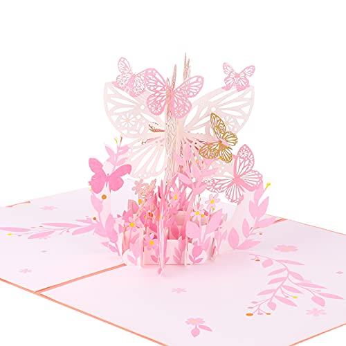 Fingertoys - Tarjeta de felicitación, diseño de mariposa, flor y ramo de...