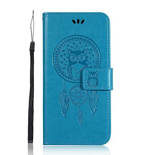 Carcasa Xiaomi Mi 5X / Mi A1, diseño de búho gofrado, funda para teléfono móvil, resistente a los arañazos, de poliuretano flexible, funda con tarjetas, ranuras y soporte horizontal, azul