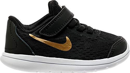 Nike Boy's Flex 2017 RN (TDV) Running Shoes (5 Toddler M, Black/Metallic Gold/White)