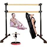Marfula Wood Ballet Barre Bar Portable Height Adjustable Portable Double Freestanding Ballet Fitness Stretch/Dance Bar for Home or Studio Dancing, with Carry Bag with Carry Bag and Stretch Band