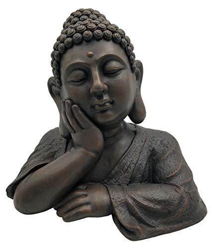 Dehner Deko-Büste Buddha, ca. 35.5 x 26 x 35 cm, Magnesia, dunkelbraun