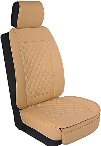 Veshow Funda Asiento Coche Fundas Asientos Coche Universales Compatible con Airbag Desmontable Mayoría de los Sedán SUV Camiones RV Beige