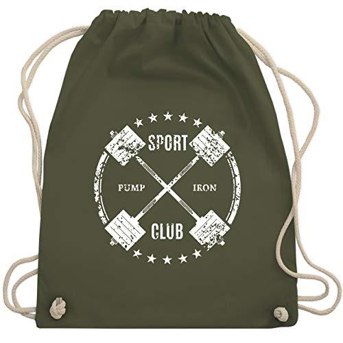 Fitness & Workout - Sport Pump Iron Club - Unisize - Olivgrün - WM110 - Turnbeutel und Stoffbeutel aus Bio-Baumwolle