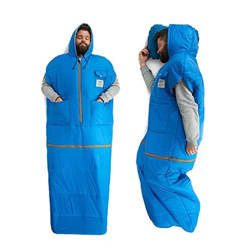 Wusfeng Veste Portable Sac de Couchage Chaud et Confortable Léger Imperméable extérieur Professionne Se Librer Vos Mains Idéal pour Le Camping randonnée randonnée Bleu Vert (Color : Blue 1200g)