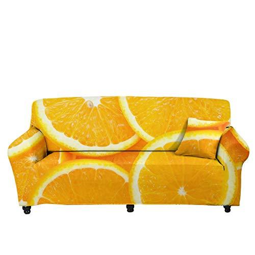 Pizding Funda elástica de invierno para sofá con patrón naranja, funda de cojín decorativa con correas elásticas, espuma antideslizante para sala de estar, regalo para hombres y mujeres