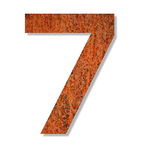 Keilbach Designprodukte 80027 Keilbach, Hausnummer iron.number.240, korrodierter wetterfester Stahl, Typografie Eurostile, Höhe 240 mm, Ziffer 7, Grau
