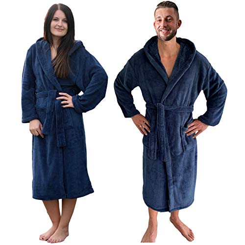 JEMIDI Bathrobe, Bathrobe, Unisex - Travel Bathrobe, Dressing Gown Sauna Gown Dressing Gown - Blue - L