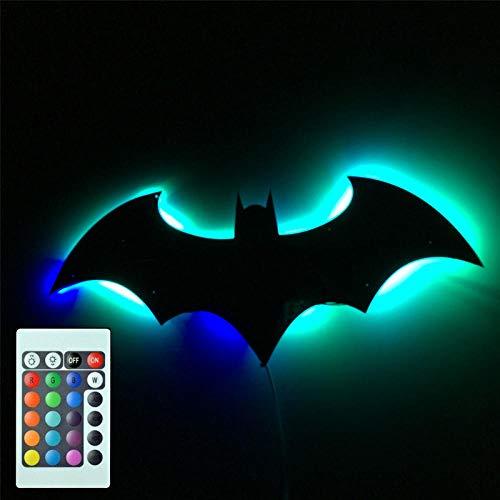 7 Color Mirror 3D Batman Remote Control LED USB Night Light Wall Lamp Home Decoration Children Gift
