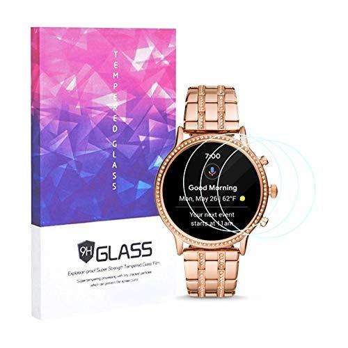 Schutzfolie für Fossil Julianna HR Gen 5 Smartwatch, Fossil Julianna HR Gen 5 Panzerglas Gehärtetes Glas 9H Hartglas Bildschirmschutzfolie Vollflächige Anti-Fingerprint (3er Pack)