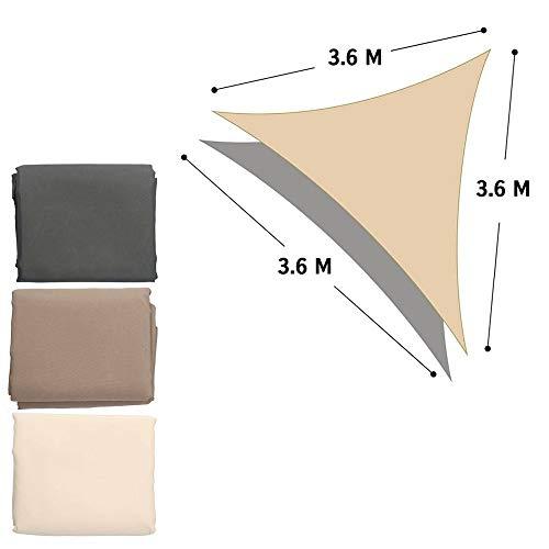 LIFETIM driehoekig 3,6 x 3,6 x 3,6 m zonnezeil zonwering zichtbescherming zonnescherm schaduw zonnedak, in driehoekige vorm, met aluminium ogen (beige)